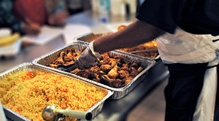 Somali meal being served