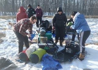VOA High School girls set up camp