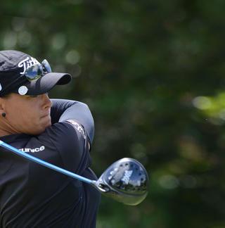 LPGA golfer teeing off