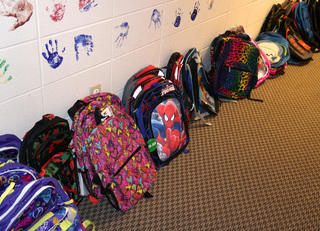 Backpacks for children at Theodora House
