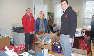 Tracie and her sons donated socks, underwear, a coffeemaker, crockpot and more for veterans in need.