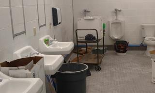 The men's restroom is nearly finished.  The lights are motion activated, new fans, new floors, new showers, new everything!  We see some positive reflections ahead in the brand new mirrors just waiting to be installed.