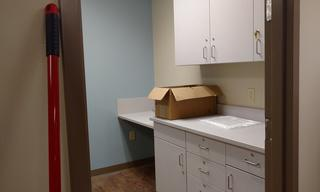 Take a look at the new nurse's station!  In just a few short weeks, it will be stocked and ready to help our clients!