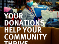 Your donations help you community thrive. Young woman with blue mask sorting clothes in a warehouse.