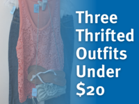 Three thrifted outfits under $20 in white text over blue faded overlay. A photo of an outfit with an orange tank top, jean capris, and a green purse are below the overlay.