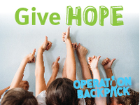 Give Hope Operation Backpack, kids holding up thumbs-up