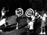 kids in the 50s archery target practice