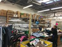 thrift store donations being sorted