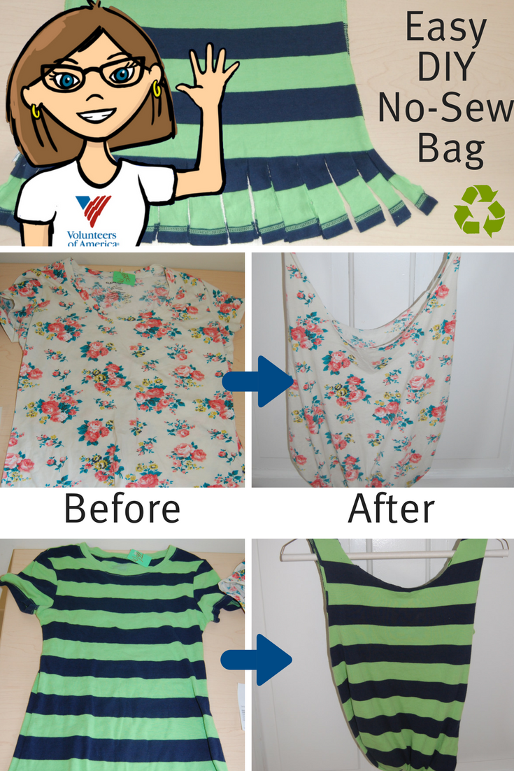 Easy diy bag from a thrift t shirt news and events volunteers of no sew diy t shirt tote bag solutioingenieria Choice Image